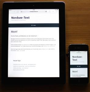 Die Startseite von Nordsee-Text auf einem Tablet und dem Smartphone im Hochformat. (Foto: Birte Vogel)