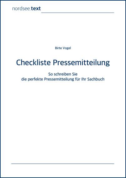 Sachbuch-Checkliste Pressemitteilung von nordsee.text | Birte Vogel