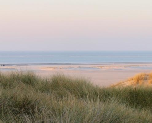 Im Vordergrund links blassgrüne Dünen, rechts dahinter gelbe Dünen im Licht der untergehenden Sonne, in der Mitte ein Blick auf den leicht rötlich leuchtenden Strand voller hellblauer Wasserpfützen, dahinter eine blassblaue Nordsee, darüber ein blassblau-blassrot-blassorange-blassgelber Winterhimmel. Foto: Birte Vogel