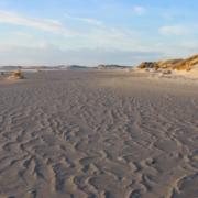 Im Vordergrund wellenförmige Strukturen im Sand, die vom Standpunkt aus in die Bildmitte hochlaufen; rechts einige Dünen, links Wasser, darüber blauer Himmel mit einigen Wolken (Foto: Birte Vogel)