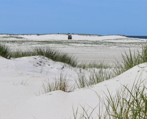 Ein Blick durch niedrige Sanddünen mit weißem Sand und einigen grünen Dünengräsern, über eine weite Sandfläche, am Horizont weitere niedrige Dünen, davor ein weiß-blau gestreifter Strandkorb. Im Hintergrund das blaue Meer, darüber ein blauer Himmel. (Foto: Birte Vogel)