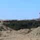 Im Vordergrund Dünen im Frühjahr, bewachsen mit grau-grünem Gras und Flechten, dann quer durchs Bild ein Streifen Wald, überragt von dem rot-weiß gestreiften Leuchtturm der Insel Amrum, dahinter Sanddünen und am Horizont das Meer. Der Himmel ist hellblau. (Foto: Birte Vogel)