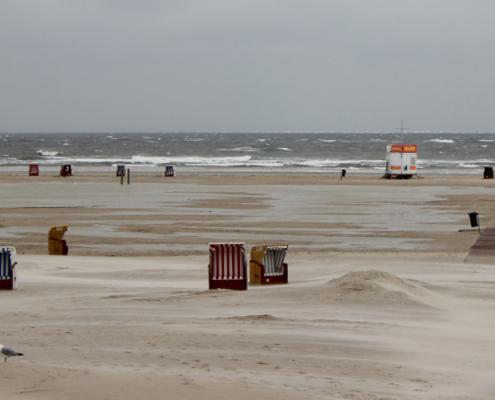 Strand bei Sturm, vorne knabbert eine Möwe an einer Heuballenbarriere, dahinter fliegt der Sand quer durchs Bild und zwischen den letzten verbliebenen Strandkörben hindurch, der Strand ist voller Pfützen vom letzten Hochwasser, dahinter eine unruhige graue See unter grauem Himmel. (Foto: Birte Vogel)